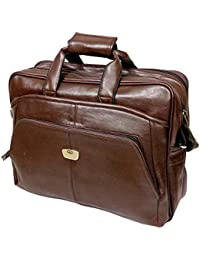 """AYS Stylish 15.5"""" Brown Colour Faux Leather Specious Laptop Sleeve Messenger Office Bag"""