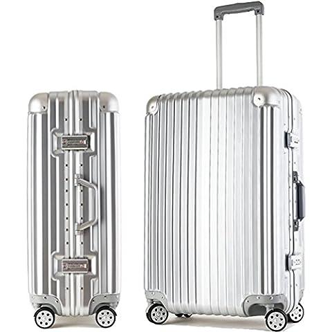 ZHLONG ABS + PC universale ruota di fascia trolley valigia affari , 1 , 22 inch - 22 Pelle Mm Brown