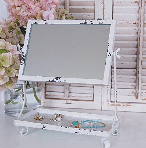 Landhaus Schminkspiegel MARIE im weißen, vintage Shabby Chic, Tischspiegel, Kosmetikspiegel