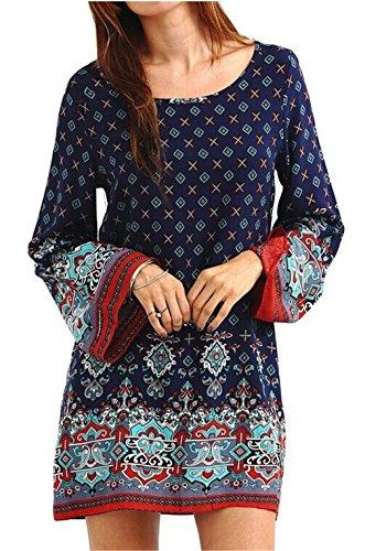 hengsong-femmes-retro-imprime-mini-robe-manche-longue-lache-casual-tunique-style-ethnique-m-bleu-mar