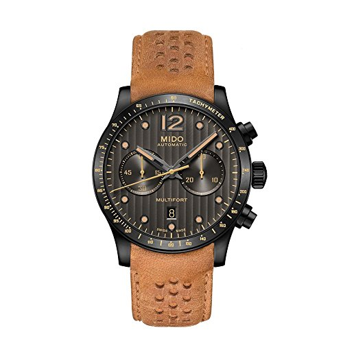 Mido Men's Multifort 44mm Brown Leather Band IP Steel Case Automatic Grey Dial Watch M025.627.36.061.10