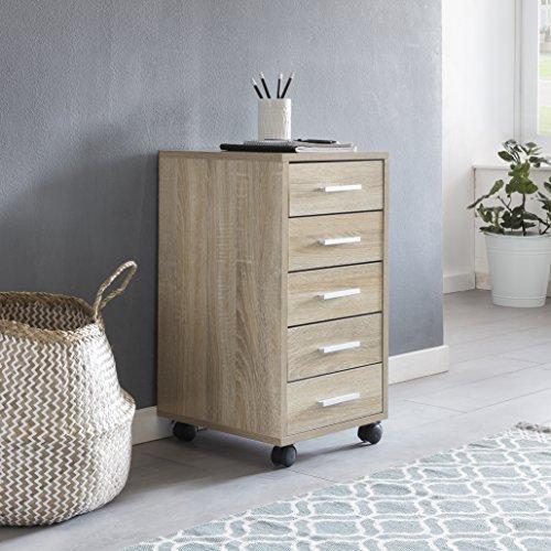Finebuy Rollcontainer LARA Sonoma 33 x 63 x 38 cm Holz Schubladenschrank Schreibtisch | Büro...