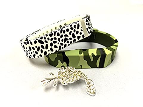 Set Large L 1 Green Camouflage Army Military 1 Red with White Dots Spots Colors Replacement Bands With Clasps for Fitbit FLEX Only /No tracker/ Wireless Activity Bracelet Sport Wristband Fit Bit Flex Bracelet Armband + Nice Crystals Feather Brooch