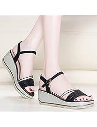 GTVERNH China Tallone Sandali Summer Wild Comodi Spesso A 5Cm Scarpe Con Tacchi Alti Di Spessore Inferiore Una Torta Di Pan…