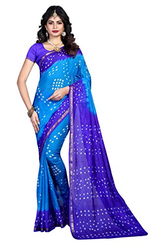 Shree Sondarya Bandhani Blue Tussar Silk Bandhani Saree With Blouse Piece