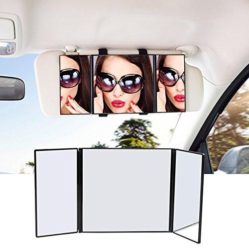 Coche Sol Visera espejo de maquillaje, Universal Auto/Coche maquillaje plegable Espejo de tocador, cosméticos Clip On Sun-shading espejo para coche camión SUV Rear View espejo por atkke
