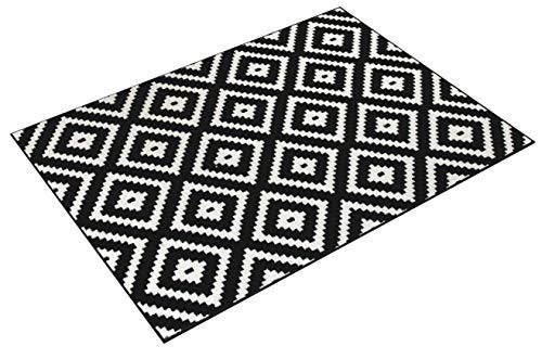 Tapiso MAROKO Teppich Modern Kurzflor Geometrisch Diamant Karo Marokkanisch Viereck Muster Schwarz Creme Wohnzimmer ÖKOTEX 140 x 190 cm