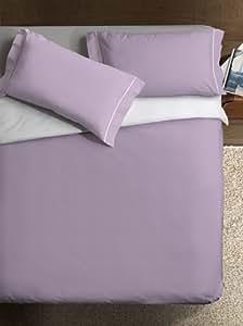 Ipersan Double Color Variante Parure Copripiumino, 2 Piazze, Cotone, Glicine/Bianco, Matrimoniale