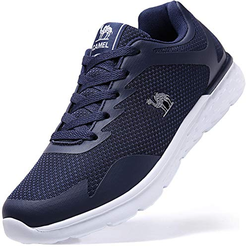 Herren Sportschuhe Sneaker Laufschuhe Leichte Atmungsaktiv Fitnessstudio Traillaufschuhe Freizeit Schnürer Turnschuhe, Gr.-42 EU/7 UK, Dunkelblau