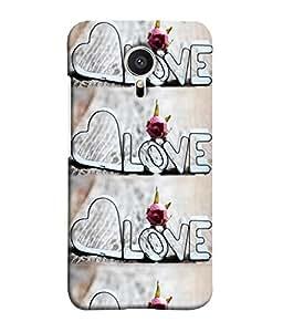 FUSON Designer Back Case Cover for Meizu MX5 (Crazy Love hearty Pattern White Pure Love)