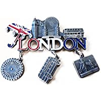 London Word Everything Union Jack Umbrella Dangle Metal Magnet Bus, Big Ben, Tower Bridge, London (Red Curio)