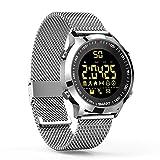 ZRSJ Reloj Inteligente EX18 Podómetro Impermeable Bluetooth Smartwatch Call SMS Reminder Muñequera Seguimiento de Actividad Reloj Deportivo Compatible con Sistema iOS Android (Silver)