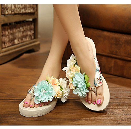 Damenschuhe Blumen Keilabsatz Zehntrenner Pantoletten Urlaub Strandschuhe Sandalen Sandaletten Sommer Schuhe slippers Drei-Farbe