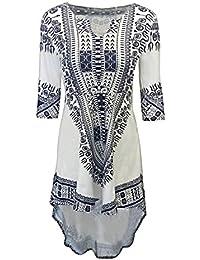 SG 3/4 Ärmel Unregelmäßiges Kleid Afrikanisches Dashiki Drucken