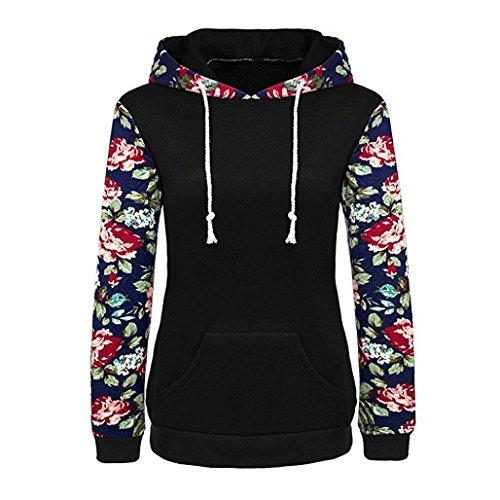 Sweatshirt Femme Imprimé, LMMVP Femmes Imprimé Floral Manche Longue Poche Sweats à Capuche (S, noir)