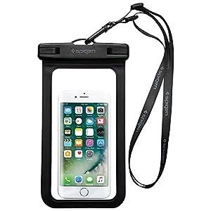 Housse Étanche, Spigen® Velo [Certifiée IPX8] Coque Etanche, Pochette étanche, Etui Etanche pour Apple iPhone 7/7 Plus/6/6S/6 Plus/SE/5S/5/5C, Galaxy J3/J5/A3/A5/S8/S8 Plus/S7/S7 Edge/S6/S6 Edge/Note 4, Huawei P8/P8 Lite/P9/P9 Lite Smartphones jusqu'à 6 pouces Noir-A600