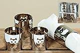 4 Stück Serviettenringe aus Metall Motiv Eule silber Serviettenhalter Tischdekoration