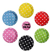 Paper Plates 7 inch/18cm Party Plates Durable Rigid Plates 6 Colors Paper Plates 120 Pack Party Plates for Birthday, Party, Wedding - DoGeek (Polka Dot)