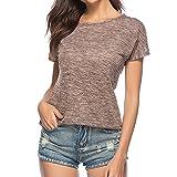 Luxspire La Mode des Femmes Décontractée Col Rond Manches Courtes T-shirt Tops,...