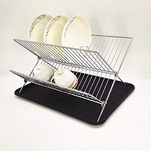 WSN Geschirrabtropfständer,Intelligentes Design X-förmige 2-Lagen-Faltschale Abtropfgestell mit Abtropfplatte Küche aus verchromtem Stahl,Black