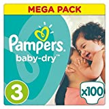 Pampers Baby-Dry Taille 3 5-9kg - 100 Couches, Mega Pack