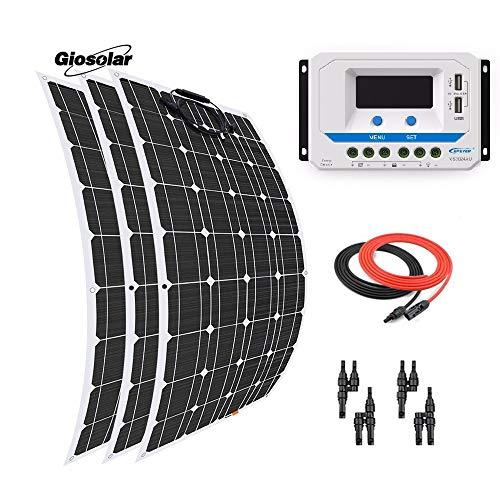 Este kit solar Giosolar de 300 W incluye: - 3 piezas Panel solar monocristalino flexible de alta eficiencia de 100 W con 90 cm de cable solar especial y conectores impermeables. - Controlador de carga PWM 30 A 12 V/24 V LCD - Total 5 metros de cable ...