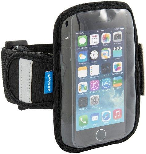 Arkon Sports Armband für iPod Touch 6G und Smartphones bis zu 12,7 cm Höhe, für Sport und Laufen, mit reflektierendem Band, Schwarz -