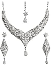 Touchstone Stunning Necklace Set With Maang Tika For Women