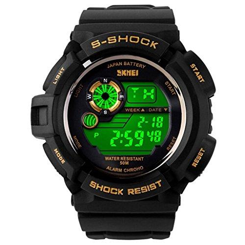 So vedere S-shock multi funzione LED digitale al quarzo Resistente all' acqua elettronico Sport orologi, Uomo, Black