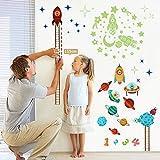 OurWarm Stars brillan en la oscuridad Pegatinas de pared Kids Height Chart Espacio Baby Growth Chart Calcomanía Niños pequeños Niños Adolescentes Dormitorio Decoración