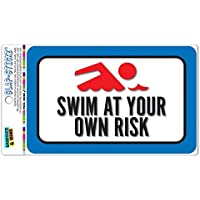 Swim At Your Own Risk - Placa decorativa de aluminio con placa metálica