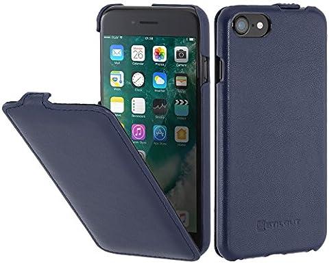 StilGut UltraSlim, housse pour iPhone 8 & iPhone 7 en cuir. Etui de protection à ouverture verticale et fermeture clipsée en cuir véritable pour iPhone 8 & iPhone 7 (4,7 pouces), Bleu foncé nappa