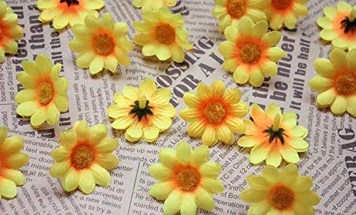 Kunstgerbera, Kunstmargeriten, 100Stück, Seideblumen-Köpfe, zum Basteln, für Hochzeitspartys, von Ricisung, Yellow orange core