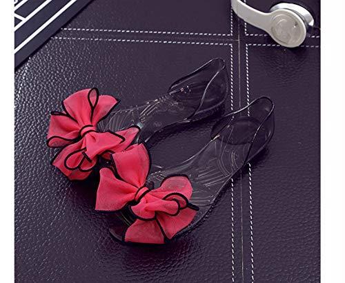 QIMITE Damen-Zehentrenner Frauen Sandalen Jelly Schuhe Sommer Mode Schmetterling - Knoten Strand Peep Toe Rutschfeste Flache Schuhe Folien Lady Casual, Buchse, Rot, Photo Color, 43 -
