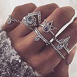 Honel Midi Ring Set Damen 8 Stück Bohemia Ringen Set Schmuck Geschenk Fashion Frauen Ring ,Silber