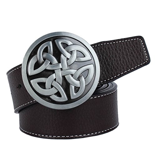 Perfect Men's Belt with Oval Buckle Vintaje for Casual Pants Can Cut 110-125 cm - coffee, buckle round celtic knot
