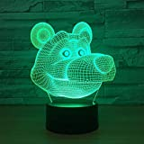 Cute Cartoon Bear 3D led Night Light for Baby Bedroom Lamp USB Powered Illusion Lamp Illusion LampAmazing Optical Illusion Nigh
