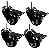Casters LXY 4 Ruote Pesanti Piastra Industriale 300KG Rotella in Gomma PU da 50 mm Carrello Bulloni delle Ruote rotelle per mobili con Freno Nero - Vite / M10 / 2 Pollici