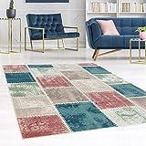 carpet city Teppich Flachflor Inspiration mit Patchwork Muster in Pastellfarben, Blau, Rosa, Mint, Creme, Beige für Wohnzimmer, Größe: 80x150 cm