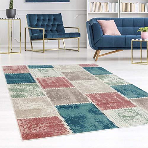 carpet city Teppich Flachflor Inspiration mit Patchwork Muster in Pastellfarben, Blau, Rosa, Mint, Creme, Beige für Wohnzimmer, Größe: 160x230 cm