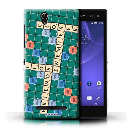 Kobalt® Imprimé Etui / Coque pour Sony Xperia C3 / Coeur Chaud conception / Série Mots de Scrabble Ennemis Proximité