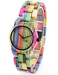 Bewell de las Mujeres de Bambú de Madera, relojes de Pulsera de Alta Calidad de Cuarzo Analógico Relojes de Estilo Natural Colorido