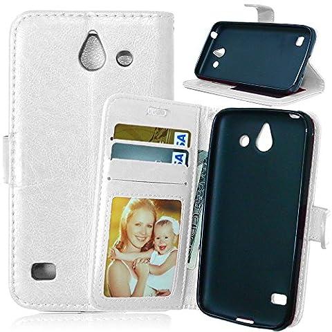 D'amelie Coque pour Huawei Ascend Y550Case Wallet PU cuir coque étui housse coque en silicone magnétique Inner Cover Etui Skin Shell dossiers Purse Portefeuille Trois Cartes