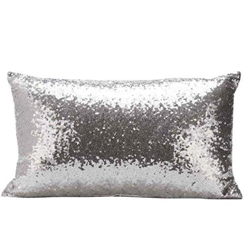 Viasa paillettes divano letto Home decorazione festival federa cuscino, Silver, 30cm*50cm/11.8*19.7'