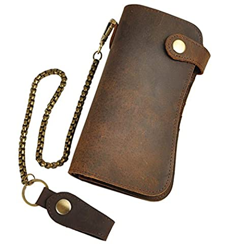 Le 'aokuu pour homme en cuir véritable Sac d'embrayage sac à main de portefeuille pour chéquier Dragon en relief, Brown 2,