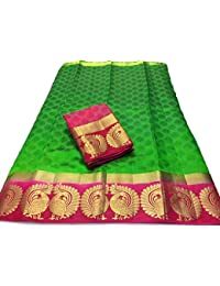 Art Decor Women's Yellow Color Kanjivaram Emboss Tassar With Jecqured Border With Blouse Saree