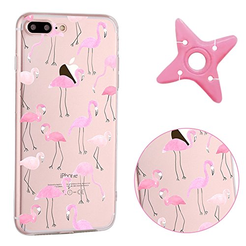 "iPhone 7Plus Case Clear, MAOOY Ultra Slim Soft TPU Silicone Back Cover for iPhone 7Plus, Colorful Pattern Design Cute Printing Transparent Jelly Protective Case with Scratch Resistant Protective Skin for 5.5""Apple iPhone 7Plus + 1 x Headphone Winder (Color Random)- Flamingo"