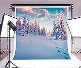 YongFoto 1,5x1,5m Foto Hintergrund Weihnachten Vinyl Schneebedeckte Landschaft Kiefern Fußabdrücke Winter Wunderland Fotografie Hintergrund Foto Leinwand Kinder Fotostudio