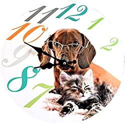RELOJ DE PARED DISENO PERRO CON LENTES Y GATO - Tinas Collection
