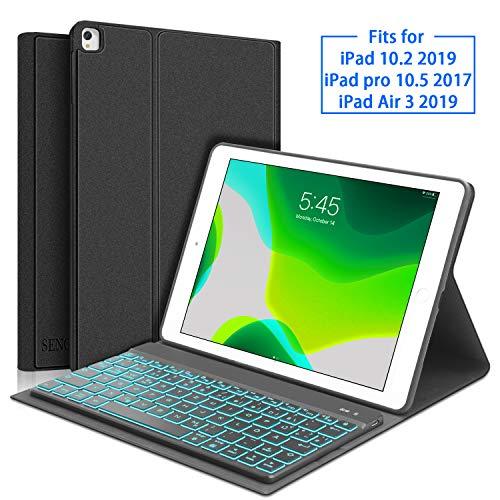 SENGBIRCH Tastatur Hülle für iPad 10.2 2019, Tastatur für iPad 7 Generation (QWERTZ Layout), Weich Schutzhülle Kompatibel mit iPad 10.2 2019/ iPad Air 3 2019/ iPad Pro 10.5 - Schwarz -